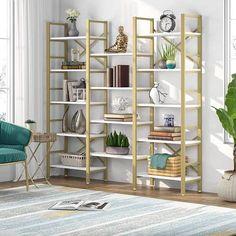 Modern Bookshelf, Bookshelves, Salon Shelves, Etagere Bookcase, Gold Wood, Furniture Deals, Vintage Wood, Living Room Furniture, Storage Spaces
