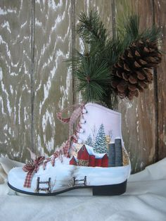 Hand painted ice skate-a Debbie Towes design.