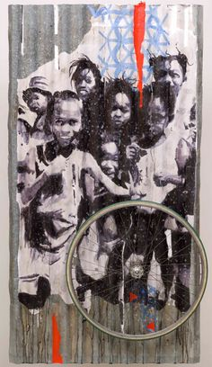 Nicola Villa 23°33′S, 43°46′E, 2013 watercolor on paper pasted on metal sheet, bike wheel,  cm 100x180 @ nicola villa 2013