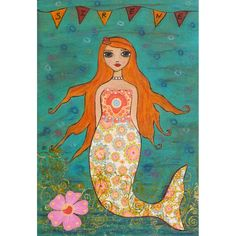 A beautiful whimsical mermaid with long red hair. Mermaid Art Print on Wood Whimsical Mermaid Painting Title - La Jolie Sirene La Jolie Sirene Fantasy Mermaids, Real Mermaids, Mermaids And Mermen, Mermaid Nursery Decor, Nursery Art, Bedroom Art, Mermaid Fairy, Manga Mermaid, Merfolk
