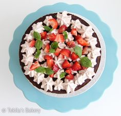 Vegan chocolate cake with strawberryes and mint leafs