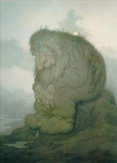 Troll+wonders+how+old+he+is+-+Trollet+som+grunner+på+hvor+gammelt+det+er,+-+Theodor+Severin+Kittelsen