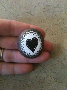 Hand painted Stone Little Lace Love by SoulJules on Etsy, $0.20