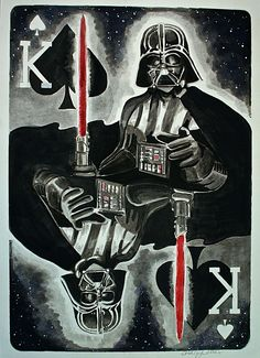 King of Spades, Darth Vader (watercolor & ink) by Ashley Villers