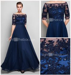Sheath/Column Off-the-shoulder Floor-length Chiffon And Tulle Evening Dress (551359) - USD $ 179.99