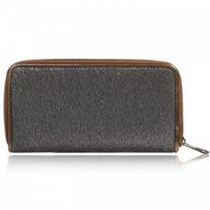 Donkergrijze portemonnee met nepvacht
