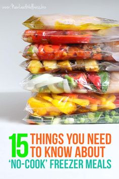 15 Things You Need To Know About 'No-Cook' Freezer Meals. Simply combine the ingredients and freeze! These meals save me about 5 hours and $50 per week!