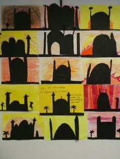 Moskee bij zonsondergang