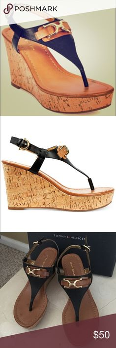 "🎄💕SALE💕 NWT Tommy cork wedge sandals! Black cork platform wedge sandal. 1 1/2. "" platform in the front and 3 3/4"" at the heel. Black man-made upper with khaki colored accents and gold hardware make this perfect for wearing to the office or dressed down with jeans! Tommy Hilfiger Shoes Sandals"