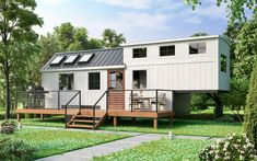 Goose tiny house on wheels is latest addition to the Signature Series by Tiny Heirloom. The two-floor tiny house sleeps a family of six. Tiny House Luxury, Modern Tiny House, Tiny House Living, Tiny House On Wheels, Small House Plans, Tiny House 3 Bedroom, Tiny House Exterior Wheels, Tiny Home Floor Plans, Tiny House Family