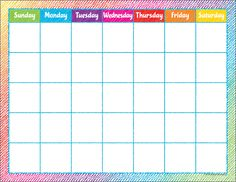 Colorful Scribble Calendar Chart - Personalize your classroom with coordinating Monthly Headliners and Calendar Days. Each chart measures by This product is acid-free per industry standards; contact us for technical information. Mom Planner, Weekly Meal Planner, Study Planner, Planner Pages, Planner Ideas, Kindergarten Calendar, Classroom Calendar, Kids Calendar, Blank Calendar