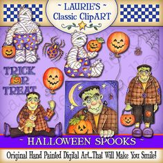 Halloween Spooks Digital Art Collection by lauriefurnelldesigns, $4.95