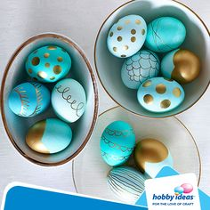 We love the way golds and silvers add a sophisticated touch to even the simplest of decorations. To make this Easter egg design, turn to metallic-hue paint pens after dying your eggs. Simply draw whatever suits you, try polka dots, stripes, or a dip-dyed effect.