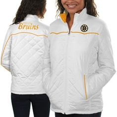 WANT. Boston Bruins Ladies Spectator Quilted Full Zip Jacket - White