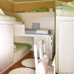 Triple bunk bed w/ storage shelves