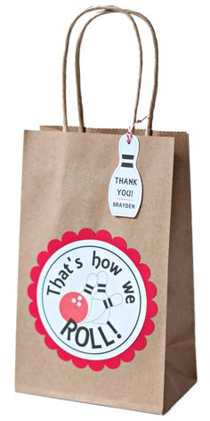 These bowling party goody bags will be a great addition to your bowling party! Best of all, they are ready-made so all you have to do is add the goodies and set them out at the bowling alley! This order is for READY-MADE goody bags measuring 8 1/2H, 5 1/4W, and 3 1/4D with handles