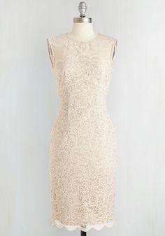 Moonlit Sonata Dress - Long, Knit, Lace, Cream, Solid, Scallops, Wedding, Cocktail, Bride, Sheath, Sleeveless