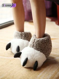 64af0eeaa001e  11.99 - Winter Women Men Home Warm Animal Claw Soft Indoor Home Cute  Slippers Shoes