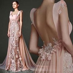 Gorgeous Pale Pink Gown With Flower Detail and Flowing Train Evening Dresses, Prom Dresses, Formal Dresses, Wedding Dresses, Beautiful Gowns, Beautiful Outfits, Gorgeous Dress, Elegant Dresses, Pretty Dresses