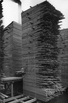 A man stands next the stacks of lumber at Cedar Mill, Seattle, 1919