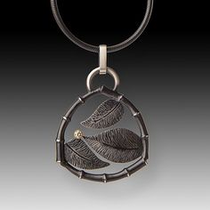 3+Leaves+Pendant by Susan+Mahlstedt: Silver+&+Stone+Necklace available at www.artfulhome.com