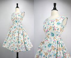 50s Dress Vintage Mid Century Modern Novelty by swingkatsvintage