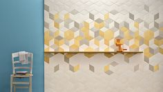 Mutina - Tex Tiles| In blue/grey, and yellow/grey | Sold at Stone Tile (Stone-Tile.com), 1451 Castlefield Ave.