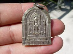 Beautiful Arched vintage catholic medal pendant in by Andraliz, $65.00