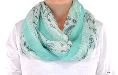 Mint Aqua Roses Floral Cotton women chunky by CreationsbyTerra