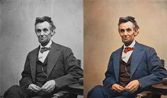 Famous photos, Abe Lincoln, Charlie Chaplin, Mark Twain, Charles Darwin, Ann Franke, and more... colorized by Sanna Dullaway - amazing!