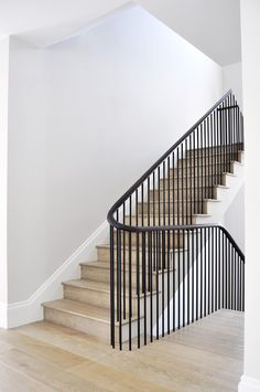Recent project in saint John& wood. By Design+Weld Staircase Handrail, Stair Railing Design, Modern Stairs Design, Black Stair Railing, Staircase Landing, Iron Staircase, Wrought Iron Stairs, Curved Staircase, Modern Staircase
