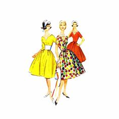 1950s Misses Full Skirt Party Dress McCallls 4956 Vintage Sewing Pattern
