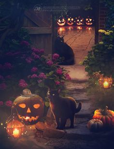 Want to discover art related to halloween? Check out inspiring examples of halloween artwork on DeviantArt, and get inspired by our community of talented artists. Fröhliches Halloween, Samhain Halloween, Halloween Party Supplies, Halloween Prints, Halloween Pictures, Holidays Halloween, Vintage Halloween, Halloween Pumpkins, Halloween Decorations
