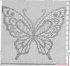 Filet crochet by ornah kaye – Artofit Crochet Butterfly Pattern, Butterfly Cross Stitch, Afghan Crochet Patterns, Crochet Motif, Crochet Doilies, Knitting Patterns, Crochet Top, Cross Stitching, Cross Stitch Embroidery