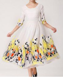$21.33 Floral Embroidery Half Sleeves Scoop Neck Voile Splicing Elegant Style Dress For Women