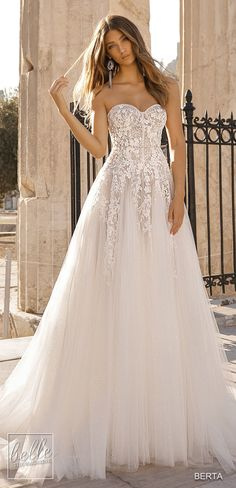 ab38176259a BERTA Wedding Dresses 2019 - Athens Bridal Collection. Strapless princess  ball gown wedding dress romantic
