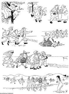 Education. Vintage cartoons by the Danish artist Herluf
