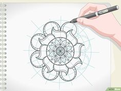 """How to Draw a Mandala. Mandalas are circular designs with repeating shapes and they often hold spiritual significance. The word """"mandala"""" comes from the Sanskrit word for circle. Many people find drawing mandalas to be a very centering and. Mandala Art Lesson, Mandala Artwork, Mandala Pattern, Mandala Design, Stencils Mandala, Mandela Drawing, Digital Painting Tutorials, Beaded Cross Stitch, Mandala Coloring"""