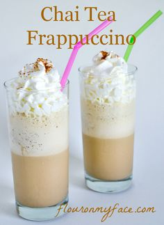 COPYCAT CHAI TEA FRAPPUCCINO: Save the expense of buying Frappuccino at a coffeeshop. In two minutes, with black tea bags, spice (you can just use chai tea bags) milk and ice you can whip up this cooler at home. Tea Recipes, Coffee Recipes, Copycat Recipes, Cooking Recipes, Fondue Recipes, Drink Recipes, Smoothie Drinks, Smoothies, Homemade Chai Tea