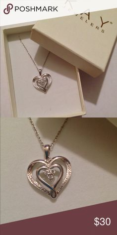 "Sterling Silver Diamond Heart Necklace NIB Brand new in box. Includes 18"" chain. This was purchased from Kay Jewelers. Kay Jewelers Jewelry Necklaces"