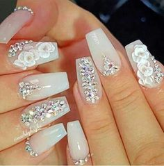 Wedding nails for bride, bridal nails, bling wedding Glam Nails, Fancy Nails, 3d Nails, Cute Nails, Pretty Nails, Coffin Nails, Acrylic Nails, Stiletto Nails, Pink Bling Nails