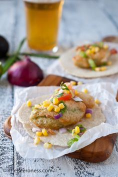 """Beer Battered Avocado Tacos with Fresh Corn Salsa. """"Best tacos I've had in years."""" YUM."""