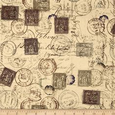 Tim Holtz Eclectic Elements Correspondence Pattern Fabric Vintage ...