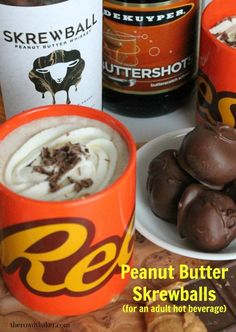 Peanut Butter Skrewballs an adult drink The Rowdy Baker Whiskey Recipes, Alcohol Drink Recipes, Whiskey Drinks, Bar Recipes, Cream Recipes, Healthy Recipes, Alcoholic Drinks, Beverages, Sweet Peanuts
