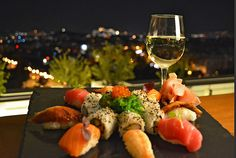 Sushi and Acropolis view! Caprese Salad, Restaurant Bar, Sushi, Lunch, Cheese, Dinner, Breakfast, Food, Acropolis