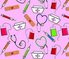 Nurse Theme in Pink fabric by hot4tees_bg@yahoo_com on Spoonflower - custom fabric