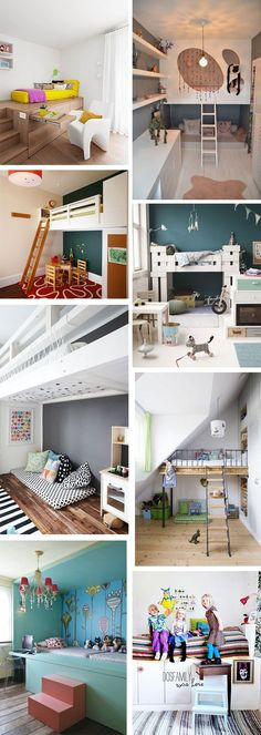 Ideas & Inspiration: Kids loft beds   Style My Child Such great inspiration for boys bedroom
