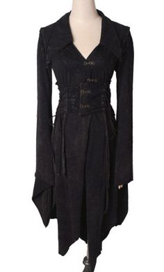 Gothic Punk Rock Japan fashion Knitted wash-water long Kimono dress S-XXL BLACK