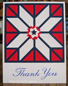 hand crafted card from Our Little Inspirations ... quilt card ... red, white and blue ... die cut star pattern ...navy lines ... white fill for star and red fill for border ... great card!