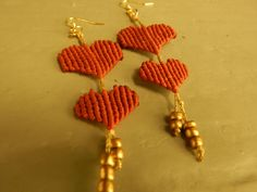 Excited to share the latest addition to my #etsy shop: Macrame heart earrings,handmade,Valentine's Day,gift for her,earrings,boho,red hearts,long earrings,playful earrings http://etsy.me/2EDKIen #jewelry #earrings #red #earwire #yes #women #no #gold #lovefriendship